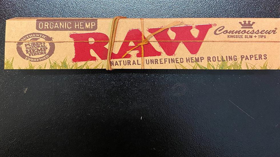 Raw Organic Hemp Connosseur Kingsize Slim + Paper