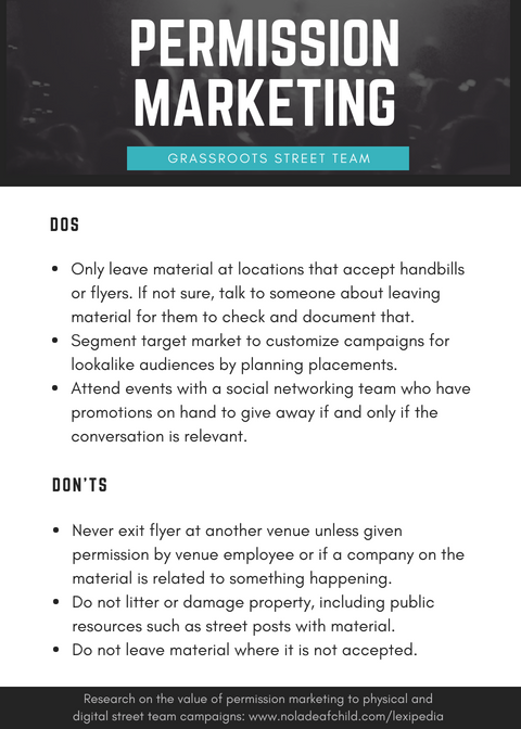permission marketing, grassroots street team dos and don'ts