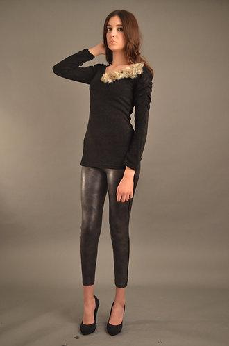 Black Wool top with fur shoulder detail