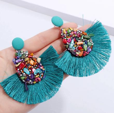 Gorgeous turquoise tassel earrings