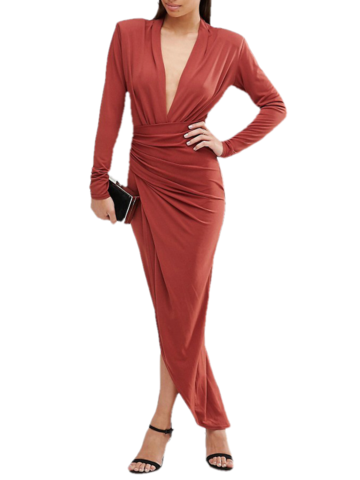 Long sleeve maxi wrap dress