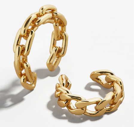 A pair of asymmetric gold chain ear cuffs