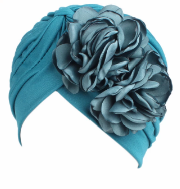 Turquoise floral turban