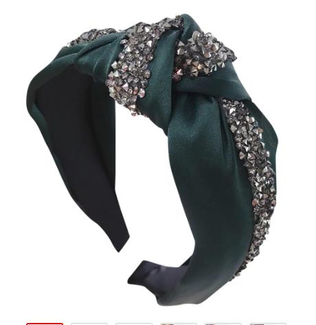 Adorable green turban headband with stones