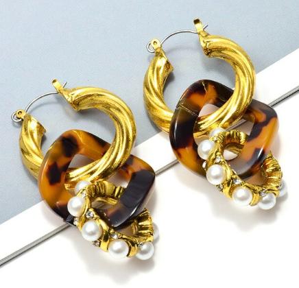 Triple hoop dangle earrings