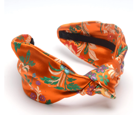 Orange Satin embroidered headband