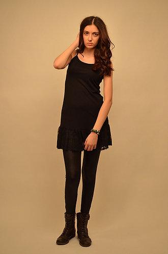 Vest top black skater dress