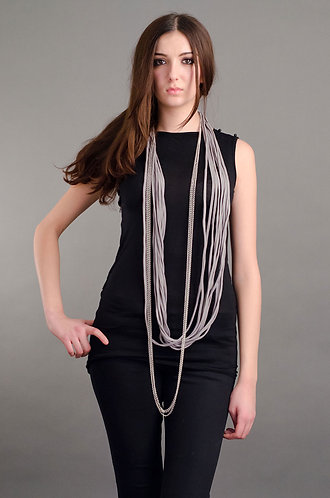 Grey fabric and chain necklace