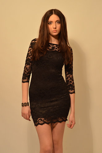 Elegant black bodycon lace dress