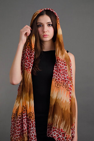 Mixed coloured animal print scarf
