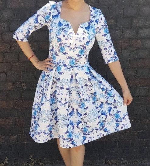 Blue and white floral skater dress