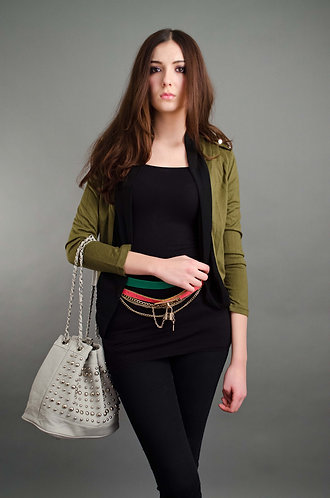 Green faux leather cardigan