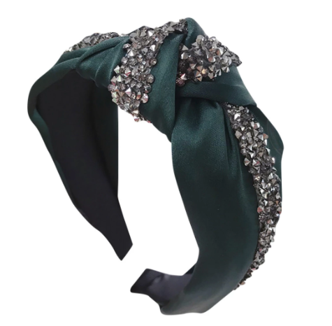 Green headband with stone detailing