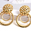 Thumbnail: Gold weave button statement earrings