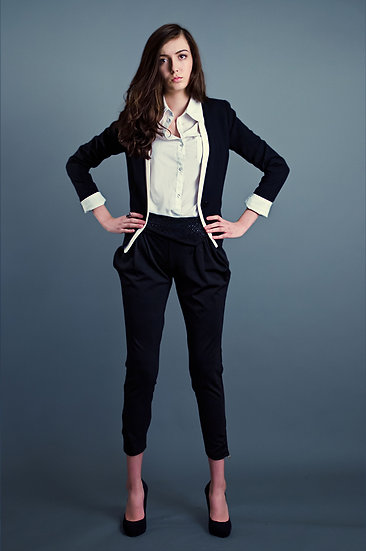 Short black blazer with white edging