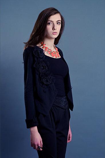 Short black blazer with floral detailing