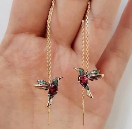 Gorgeous dangle bird earrings