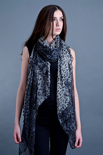 Grey leopard and lace print scarf