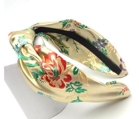 Gold satin embroidered headband