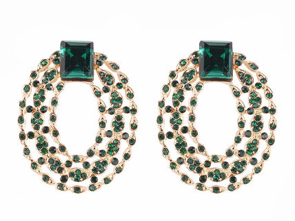Gorgeous green stone cluster earrings