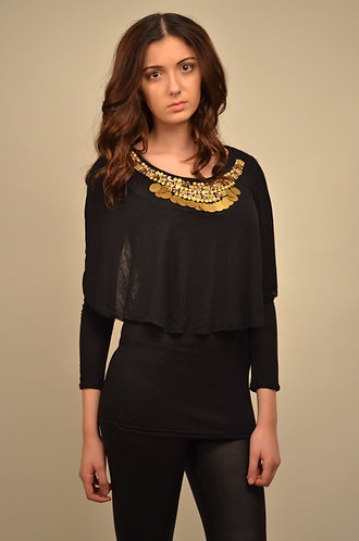 Cape style top with detailing