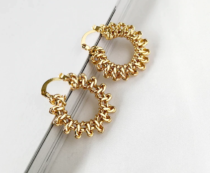 Small flat twisted hoop earrings
