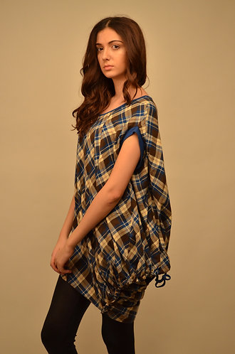 Blue chequered oversized top