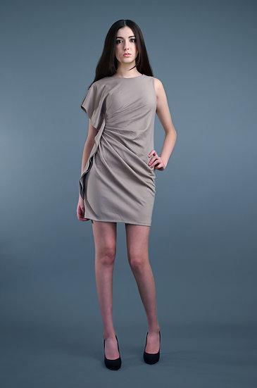 Beige ruched dress