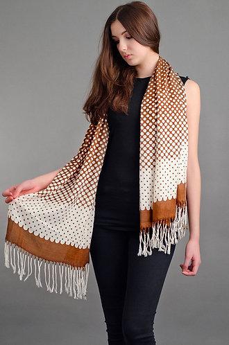 Brown and white polka dot scarf