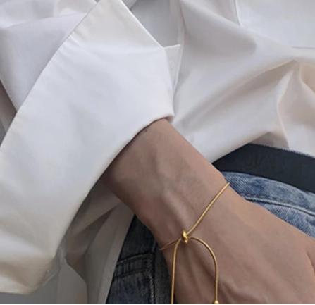 Minimalist gold tone dainty bracelet