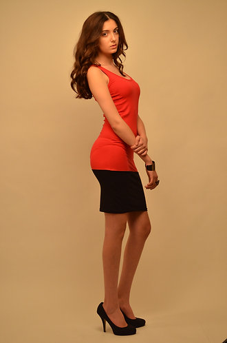 Red and black sleeveless bodycon