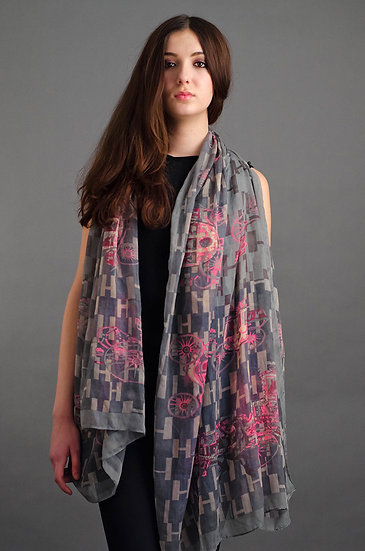Large Grey and pink scarf