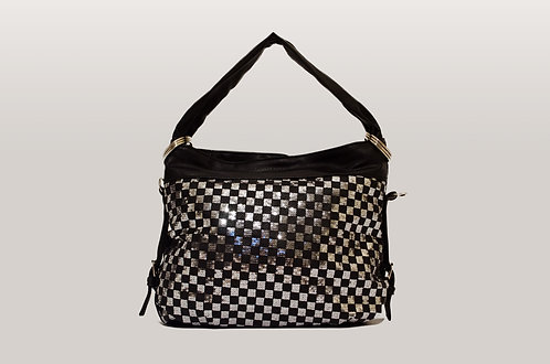 Black and silver chequered shoulder bag