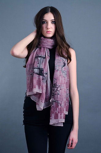 Pink scarf with black chariot print