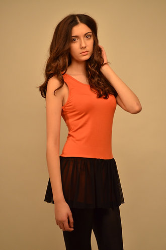 Orange and black skater dress