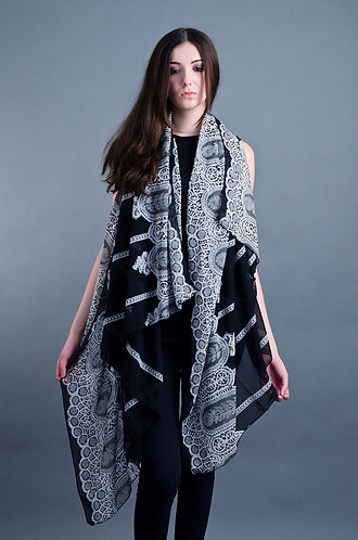 Black art deco styled scarf