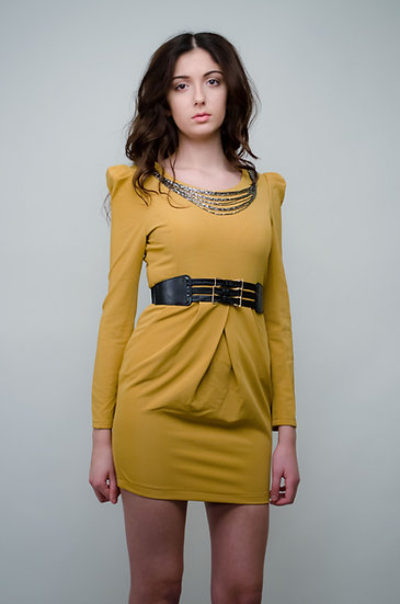 Belted mustard dress