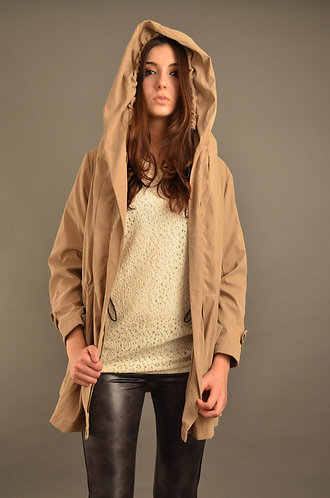 Beige drawsting hooded jacket