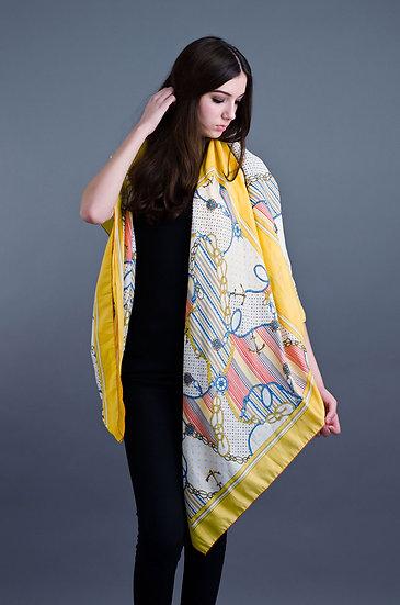 Large yellow print scarf