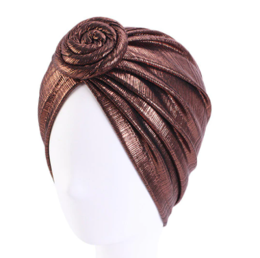 Brown shimmer twist turban