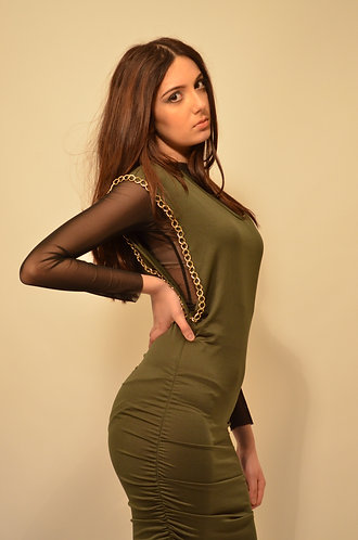 Green and black two layered mesh dress