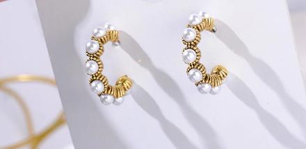 Cute faux pearl half hoop earrings