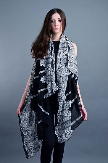 Large black and white print scarf