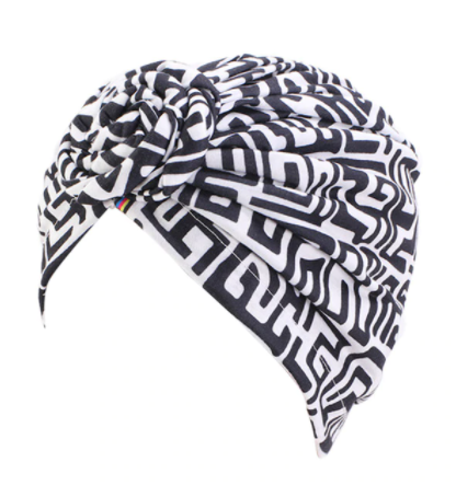 Black and white patterned turban