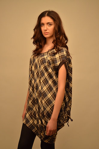 Brown chequered oversized top