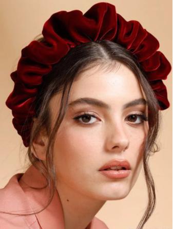 Red ruched velvet headband