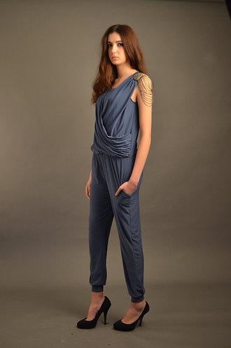 Blue jumpsuit with shoulder details