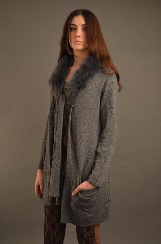 Long grey cardigan with faux fur trim