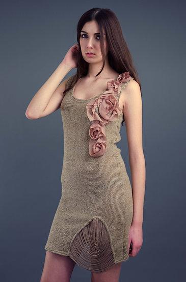Beige wool dress