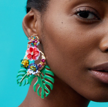 Multicoloured leaf earrings